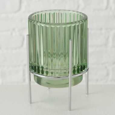 Glazen waxinelicht/waxinelicht houder lichtgroen 8 x 11 cm