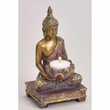 Goud boeddha beeldje met waxine/waxinelicht houder 18 cm