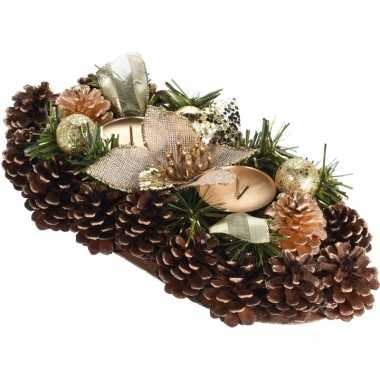 Goud kerststukje met waxinelichthouders 34 cm