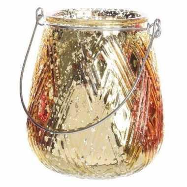 Gouden waxinelichthouder lantaarn 10 cm