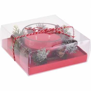 Kerststukje cadeau met waxinelichthouder rood 8 cm