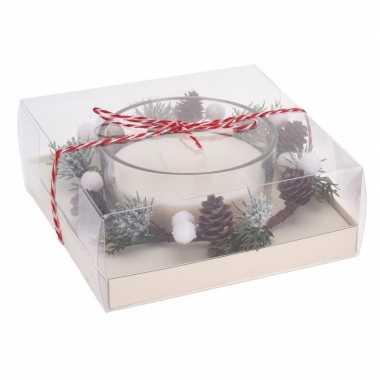 Kerststukje cadeau met waxinelichthouder wit 8 cm