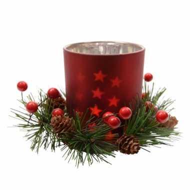 Kerststukje rode waxinelichthouder 8 cm
