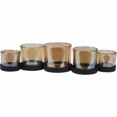 Metalen kerst waxinelichthouder langwerpig met 5 glazen 36 cm