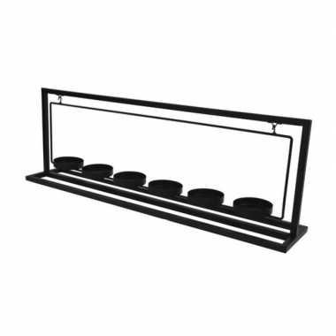 Metalen waxinelichthouder/waxinelichthouder 56 cm voor 6 waxinelichtjes