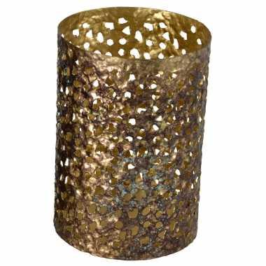 Metalen waxinelichthouder/waxinelichthouder goud grof motief 12 x 17 cm