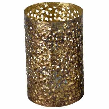 Metalen waxinelichthouder/waxinelichthouder goud grof motief 14 x 21 cm