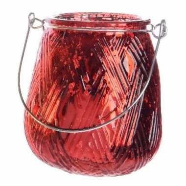 Rode waxinelichthouder lantaarn 10 cm