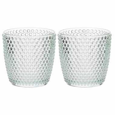 Set van 10x stuks waxinelichthouders/waxinelichthouders bubbel glas mintgroen 9 x 9 cm