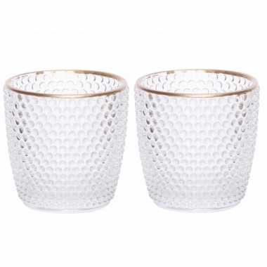 Set van 10x stuks waxinelichthouders/waxinelichthouders bubbel glas transparant 7,5 cm