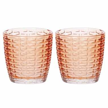 Set van 10x stuks waxinelichthouders/waxinelichthouders glas oranje 9 x 9 cm steentjes motief