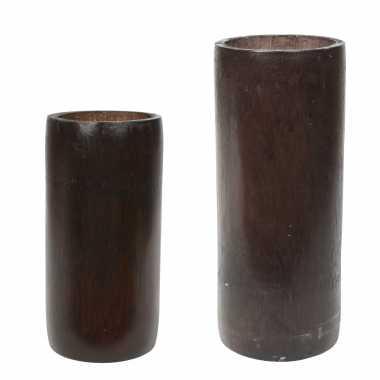 Set van 2x kaarshouders/waxinelichthouders bamboe bruin 16 en 20 cm
