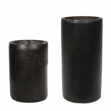 Set van 2x kaarshouders/waxinelichthouders bamboe grijs/groen 13 en 16 cm