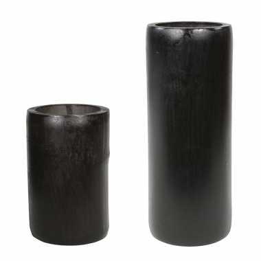 Set van 2x kaarshouders/waxinelichthouders bamboe grijs/groen 13 en 20 cm