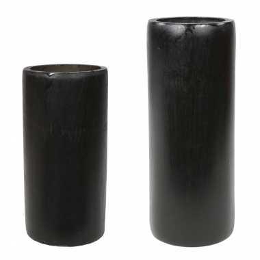 Set van 2x kaarshouders/waxinelichthouders bamboe grijs/groen 16 en 20 cm