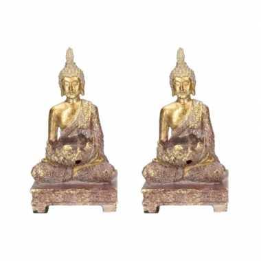 Set van 2x stuks goud boeddha beeldje met waxine/waxinelicht houder 18 cm