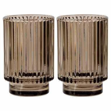 Set van 2x stuks ronde waxinelichthouders/waxinelichthouders glas bruin 13 cm