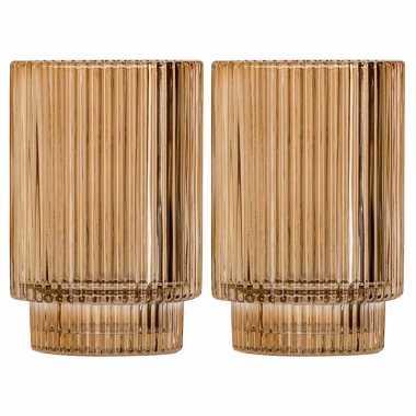 Set van 2x stuks ronde waxinelichthouders/waxinelichthouders glas goud 13 cm
