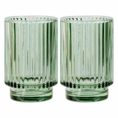 Set van 2x stuks ronde waxinelichthouders/waxinelichthouders glas groen 13 cm