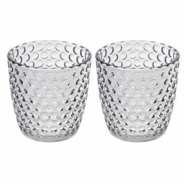 Set van 2x stuks waxinelichthouders/waxinelichthouders bubbel glas transparant grijs 9 x 9 cm