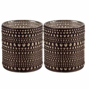 Set van 2x stuks waxinelichthouders/waxinelichthouders glas bruin 10 cm