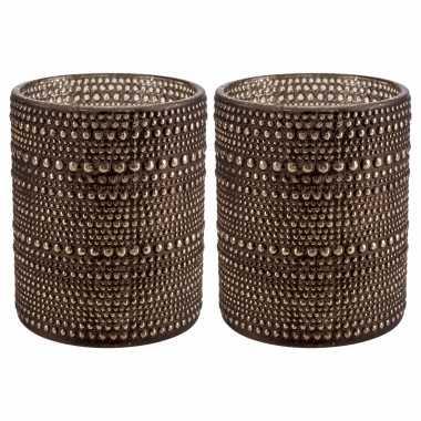 Set van 2x stuks waxinelichthouders/waxinelichthouders glas bruin 12,5 cm