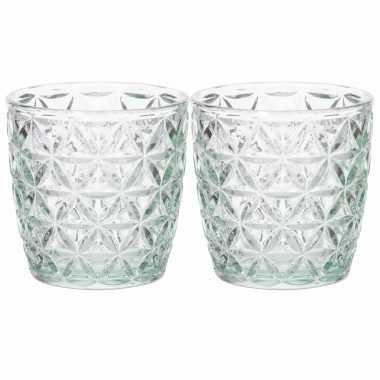 Set van 2x stuks waxinelichthouders/waxinelichthouders glas mintgroen 9 x 9 cm bloemen motief