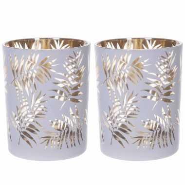 Set van 2x stuks waxinelichthouders/waxinelichthouders glas wit/goud bladeren print 12,5 cm