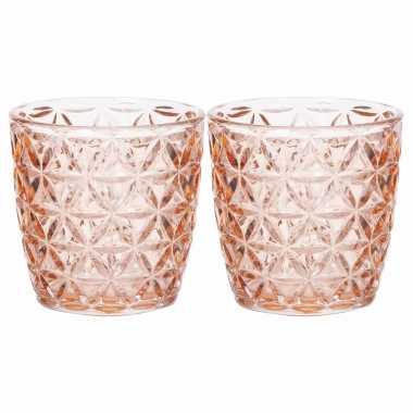 Set van 2x stuks waxinelichthouders/waxinelichthouders glas zalmroze 9 x 9 cm bloemen motief