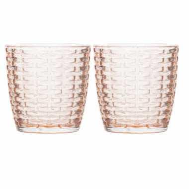 Set van 2x stuks waxinelichthouders/waxinelichthouders glas zalmroze 9 x 9 cm steentjes motief