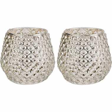 Set van 2x stuks waxinelichthouders/waxinelichthouders glas zilver 10 x 11 cm