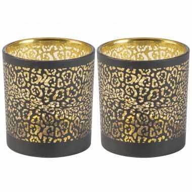 Set van 2x stuks waxinelichthouders/waxinelichthouders glas zwart luipaard print 8 cm