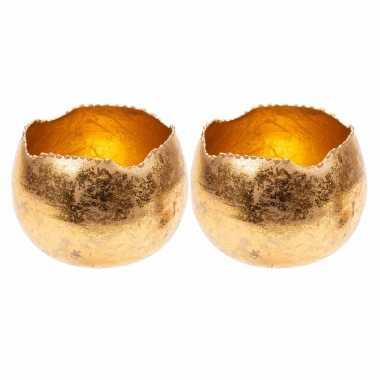 Set van 2x stuks waxinelichthouders/waxinelichthouders goud metaal 10 cm