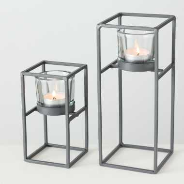 Set van 2x waxinelichthouders/waxinelichthouders windlichten centro 15/23 cm