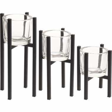 Set van 3 metalen waxinelichthouders/waxinelichthouders van glas