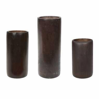 Set van 3x kaarshouders/waxinelichthouders bamboe bruin 13/16/20 cm