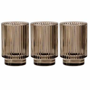 Set van 3x stuks ronde waxinelichthouders/waxinelichthouders glas bruin 13 cm