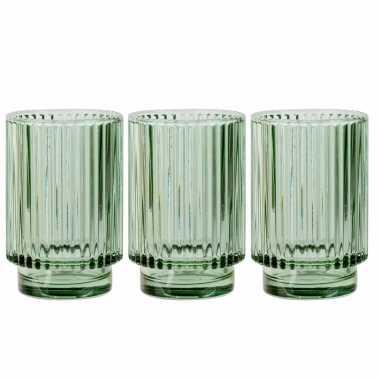 Set van 3x stuks ronde waxinelichthouders/waxinelichthouders glas groen 13 cm