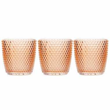 Set van 3x stuks waxinelichthouders/waxinelichthouders bubbel glas oranje 9 x 9 cm
