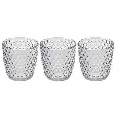 Set van 3x stuks waxinelichthouders/waxinelichthouders bubbel glas transparant grijs 9 x 9 cm