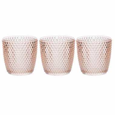 Set van 3x stuks waxinelichthouders/waxinelichthouders bubbel glas zalmroze 9 x 9 cm