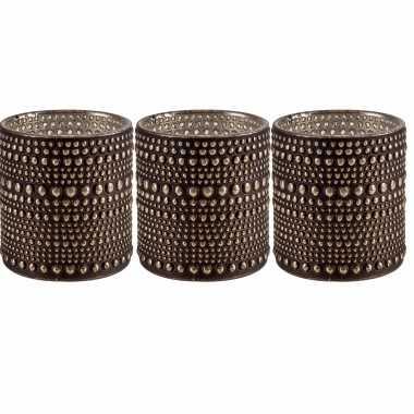 Set van 3x stuks waxinelichthouders/waxinelichthouders glas bruin 10 cm