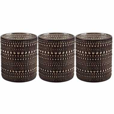 Set van 3x stuks waxinelichthouders/waxinelichthouders glas bruin 8 cm