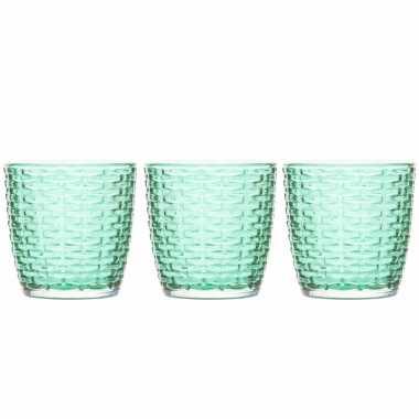 Set van 3x stuks waxinelichthouders/waxinelichthouders glas groen 9 x 9 cm steentjes motief