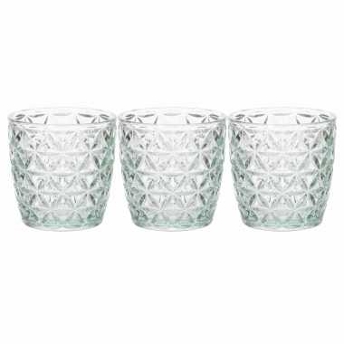 Set van 3x stuks waxinelichthouders/waxinelichthouders glas mintgroen 9 x 9 cm bloemen motief