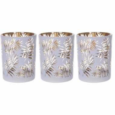 Set van 3x stuks waxinelichthouders/waxinelichthouders glas wit/goud bladeren print 12,5 cm