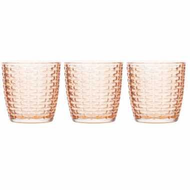Set van 3x stuks waxinelichthouders/waxinelichthouders glas zalmroze 7 x 7,5 cm steentjes motief