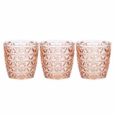 Set van 3x stuks waxinelichthouders/waxinelichthouders glas zalmroze 9 x 9 cm bloemen motief