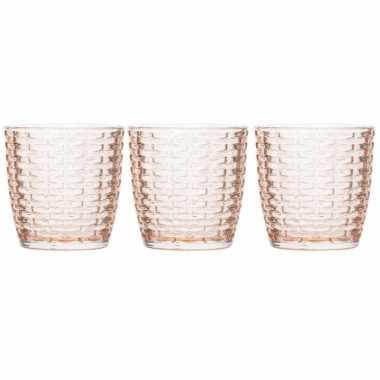Set van 3x stuks waxinelichthouders/waxinelichthouders glas zalmroze 9 x 9 cm steentjes motief