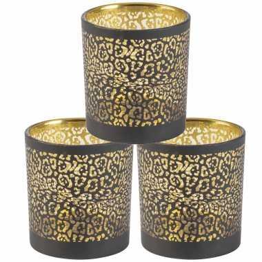 Set van 3x stuks waxinelichthouders/waxinelichthouders glas zwart luipaard print 8 cm